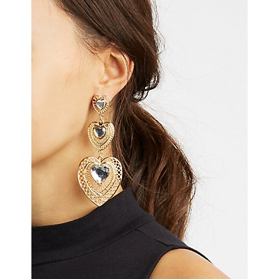 Embellished Heart Drop Earrings