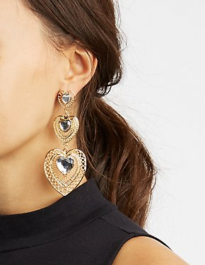 Embellished Heart Drop Earrings