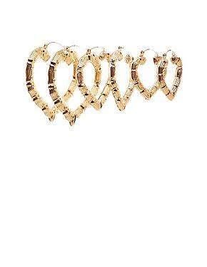 Bamboo Heart Shaped Hoop Earrings - 3 Pack