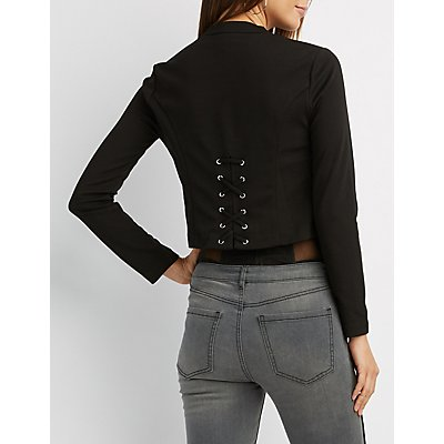Lace-Up Back Collarless Blazer