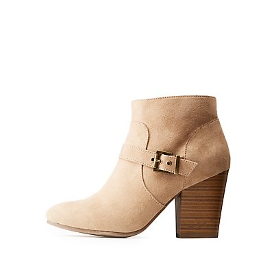 Buckled Faux Suede Ankle Booties
