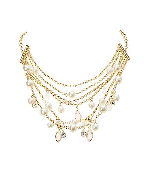 Faux Pearl & Crystal Layered Necklace