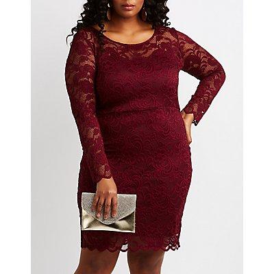 Plus Size Scalloped Lace Bodycon Dress