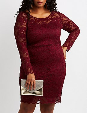 Plus Size Scalloped Lace Bodycon Dress