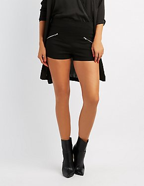 Zipper-Trim High-Rise Cheeky Shorts