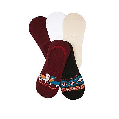Assorted Llama Shoe Liners - 5 Pack