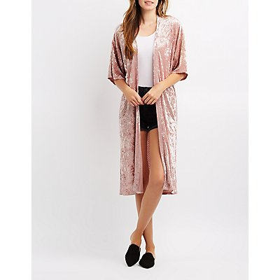 Crushed Velvet Perforated Kimono Duster