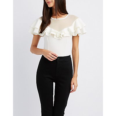 Ruffle Mesh Scuba Knit Crop Top
