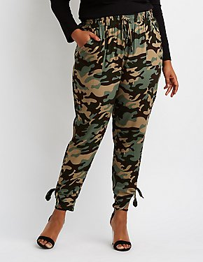 Plus Size Camo Knotted Hem Jogger Pants
