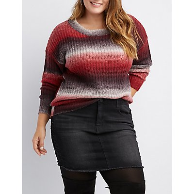 Plus Size Ombre Crew Neck Pullover Sweater