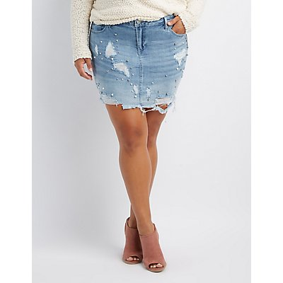 Plus Size Refuge Destroyed & Faux Peal Denim Skirt