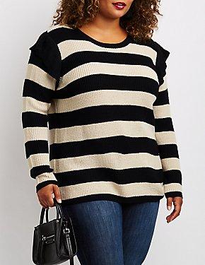 Plus Size Striped Shaker Stitch Ruffle-Trim Sweater