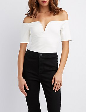 Notched Off-The-Shoulder Skimmer Top