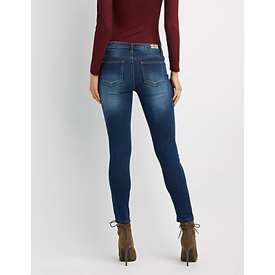 Machine Jeans Lace-Up Destroyed Skinny Jeans