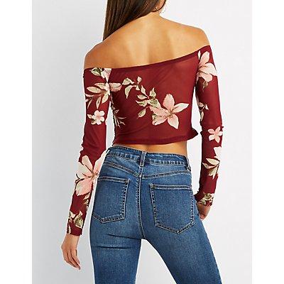 Ruched Floral Mesh Off-The-Shoulder Crop Top