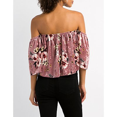 Floral Velvet Ruffle Off-The-Shoulder Top