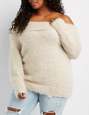Plus Size Feather Knit Off-The-Shoulder Sweater