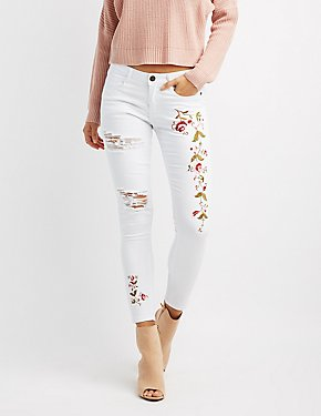Machine Jeans Floral Embroidered Destroyed Skinny Jeans