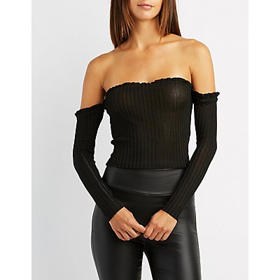 Lettuce-Trim Off-The-Shoulder Skimmer Top