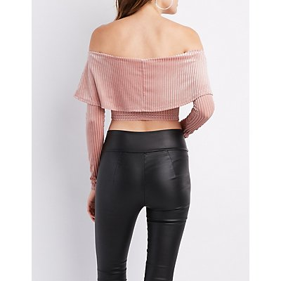 Velvet Notched Off-The-Shoulder Crop Top