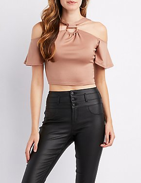 Cold-Shoulder O-Ring Crop Top