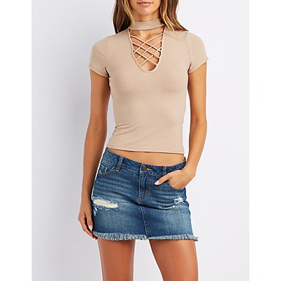 Ribbed Mock Neck Lattice-Front Top