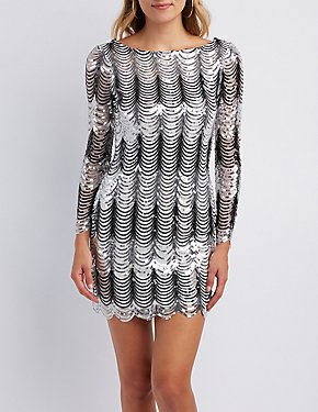 Scalloped Sequins Bodycon Dress