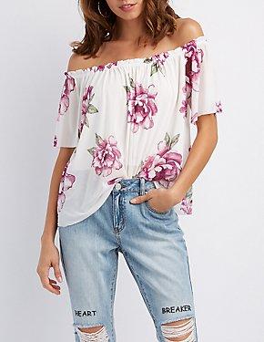 Floral Mesh Off-The-Shoulder Top