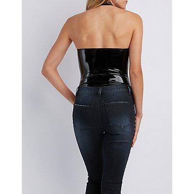 Faux Leather Zip-Up Bodysuit
