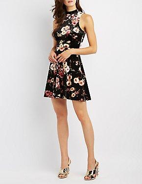 Floral Velvet Mock Neck Skater Dress