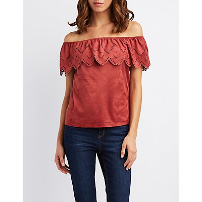 Faux Suede Off-The-Shoulder Laser Cut Top