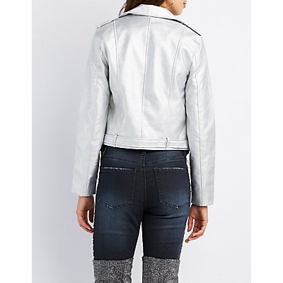 Metallic Belted Moto Jacket