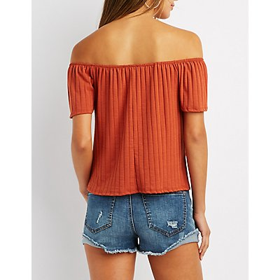 Ribbed Off-The-Shoulder Notched Top