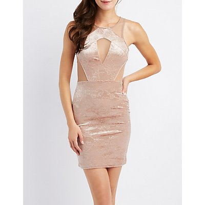 Mesh Inset Flocked Velvet Bodycon Dress