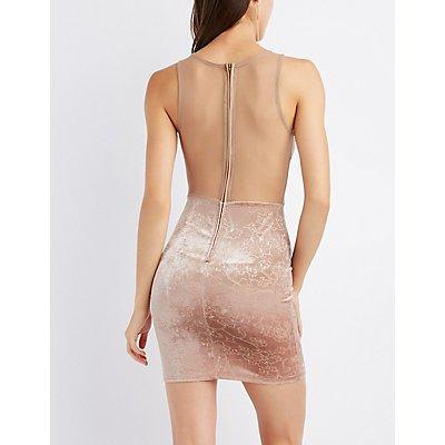 Mesh Inset Flocked Velvet Bodycon Dress