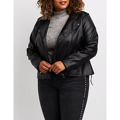 Plus Size Lace-Up Detail Moto Jacket