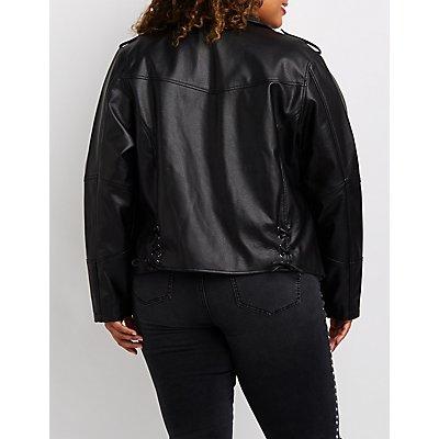 Plus Size Lace-Up Detail Moto Jacket