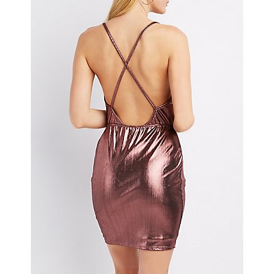 Metallic Cowl Neck Bodycon Dress