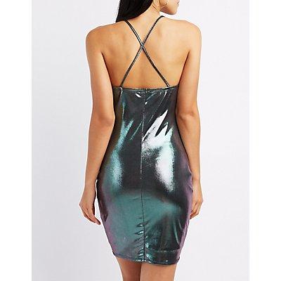 Holographic Liquid Cowl Neck Bodycon Dress