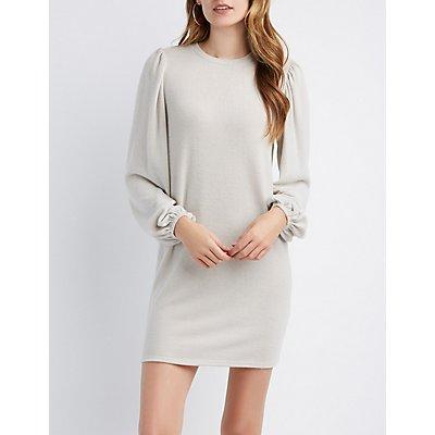 Brushed Ballloon Sleeve Sweater Dress