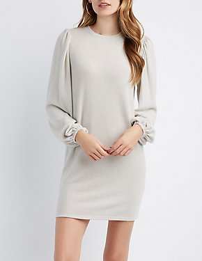 Brushed Ballloon Sleeve Sweatshirt Dress