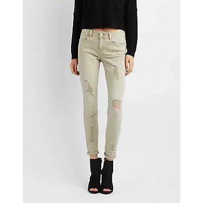 Refuge Destroyed Mid-Rise Skinny Jeans