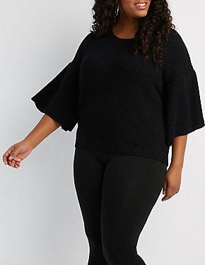 Plus Size Shaker Stitch Flare Sleeve Sweater