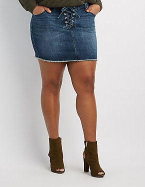Plus Size Refuge Lace-Up Denim Mini Skirt
