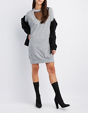 Mesh Inset Mock Neck Sweater Dress