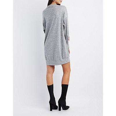 Mesh Inset Mock Neck Sweater Dress