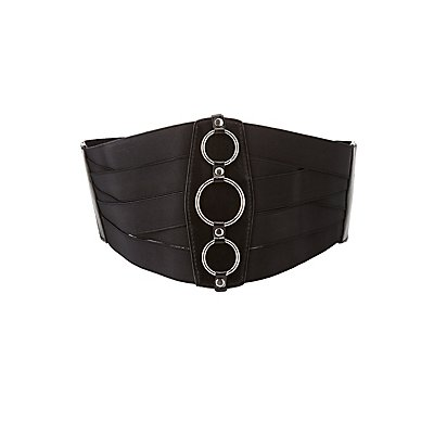 Banded Faux Leather Ring Corset Wasit Belt