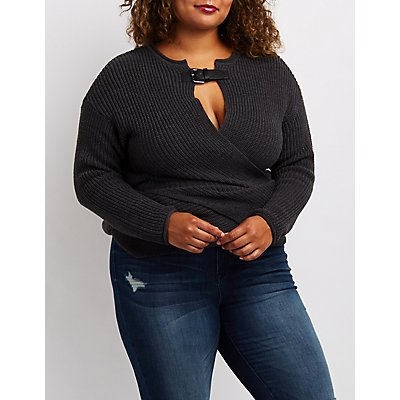 Plus Size Buckled Wrap-Front Sweater