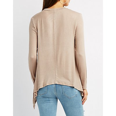 Caged Mock Neck Sharkbite Hem Top