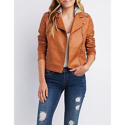 Hooded Faux Leather Moto Jacket